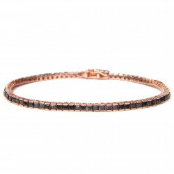Bratara Tennis Argint 925 Rodiat Rose Gold 0.4 cm cu Diamante Cubic Zirconia Negre Princess Cut