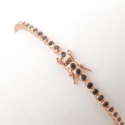 Bratara Tennis Argint 925 Rodiat Rose Gold 0.2 cm cu Diamante Cubic Zirconia Negre Round Cut