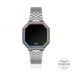 CEAS DE DAMA UPWATCH EDGE MINI  WITH SWAROVSKI® ZIRCONIA MATTE SILVER&COLORFUL