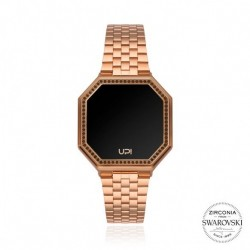 CEAS DE DAMA UPWATCH EDGE MINI  WITH SWAROVSKI® ZIRCONIA MATTE ROSE GOLD AND BROWN