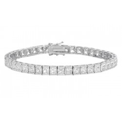 Bratara Tennis Argint 925 Rodiat 0.4 cm cu Diamant Cubic Zirconia Albe Princess Cut