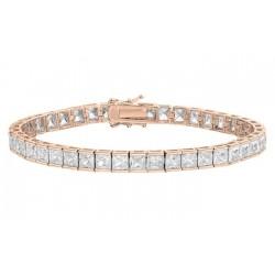 Bratara Tennis Argint 925 Rodiat Rose Gold 0.4 cm cu Diamante Cubic Zirconia Albe Princess Cut