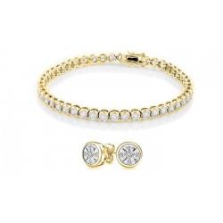 Bratara Tennis Argint 925 Rodiat Auriu 0.4 cm cu Diamante Cubic Zirconia Albe Cipollina Cut