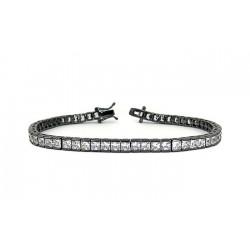 Bratara Tennis Argint 925 Rodiat Negru 0.2 cm cu Diamante Cubic Zirconia Albe Princess Cut