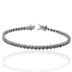 Bratara Tennis Argint 925 Rodiat 0.2 cm cu Diamante Cubic Zirconia Negre Cipollina Cut