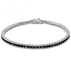 Bratara Tennis Argint 925 Rodiat 0.2 cm cu Diamante Cubic ZIrconia Negre Princess Cut