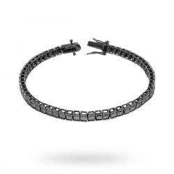 Bratara Tennis Argint 925 Rodiu Negru 0.3 cm cu Diamante Cubic Zirconia Negre Princess Cut