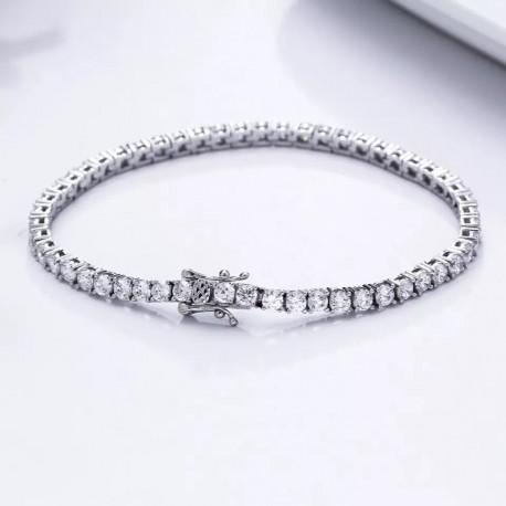 Bratara Tennis Argint Rodiat 925 0.3 cm cu Diamante Cubic Zirconia Albe Round Cut