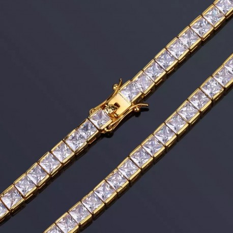 Bratara Tenis Argint 925 Rodiat Auriu 0.3 cm cu Diamante Cubic Zirconia Albe Princess Cut