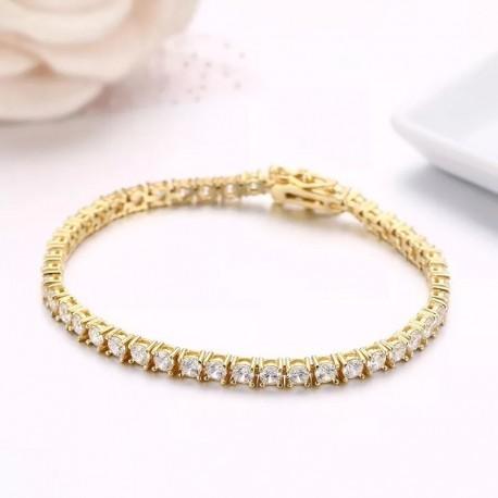 Bratara Damă Tenis Argint 925 Rodiat Auriu 0.3 cm cu Diamante Cubic Zirconia Albe Round Cut