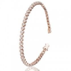 Bratara Tennis Argint 925 Rodiat Rose Gold 0.2 cm cu Diamante Cubic Zirconia Albe  Cipollina Cut