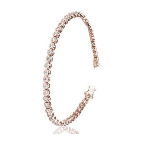 Bratara Tennis Argint 925 Rodiat Rose Gold 0.2 cm cu Diamante Cubic Zirconia Albe