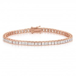 Bratara Tennis Argint 925 Rodiat Rose Gold 0.2 cm cu Diamante Cubic Zirconia Albe Princess Cut