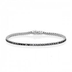Bratara Tennis Argint 925 Rodiat 0.2 cm cu Diamante Cubic Zirconia Negre Round Cut