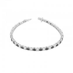 Bratara Tennis din Argint 925 Rodiat 0.3 cm cu Diamante Cubic Zirconia Albe si Negre