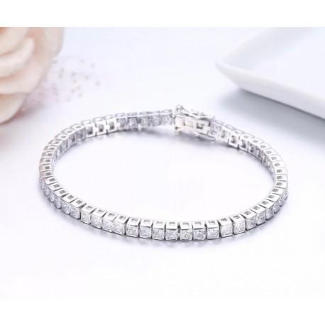 Bratara Tennis Argint 925 Rodiat 0.3 cu Diamante Cubic Zirconia Albe Princess Cut