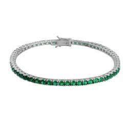 Bratara Tennis din Argint 925 Rodiat 0.3 cm cu Smaralde Cubic Zirconia Verde