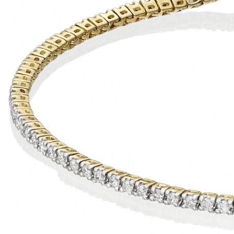 Bratara Tennis Argint 925 Rodiat Auriu 2mm cu Diamante CZ albe