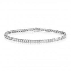 Bratara Tennis din Argint 925 Rodiat  0,2 cm cu Diamante  CZ Albe Princess Cut