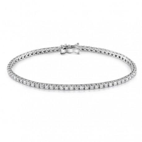 Bratara Tennis Argint 925 Rodiat Argintiu 0.2 cm cu Diamante Cubic Zirconia Albe Round Cut