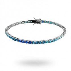 Bratara Tennis din Argint 925 Rodiat cu Diamante CZ Albe, Bleu si Albastre in degrade