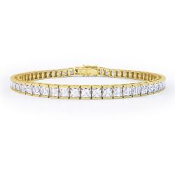 Bratara Tennis Argint 925 Rodiat Auriu 0.4 cm cu Diamante Cubic Zirconia Albe Princess Cut