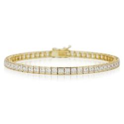 Bratara Tennis Argint 925 Rodiat Auriu 0.2 cm cu Diamante Cubic Zirconia Albe Princess Cut