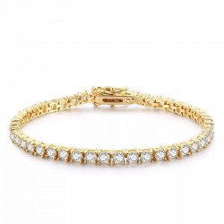 Bratara Tennis Argint 925 Rodiat Auriu 0.3 cm cu Diamante Cubic Zirconia Albe Round Cut